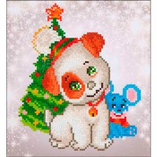 Diamond Facet Art Kit- Christmas Pup & Mouse
