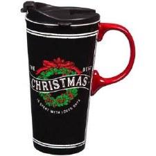 Christmas 17oz. Ceramic Travel Mug w/ Box- Christmas Wreath