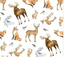 Christmas Woodland Fabric- Animal Toss