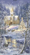 Christmas & Winter Fabric Panel- Winter Blessings Church