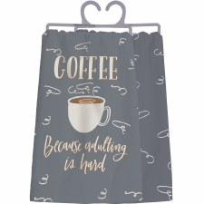 LOL Dish Towel- Coffee, Adulting is Hard
