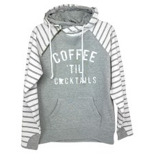 Coffee til Cockatils Striped Double Hoodie- Small
