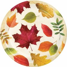 """Colorful Leaves Plates, 9"""""""