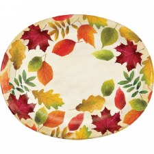 Colorful Leaves Plates, Oval