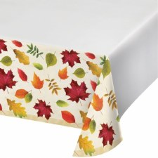 Colorful  Leaves Plastic Tablecloth