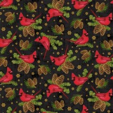 Comfort & Joy Fabric - Black Cardinals