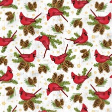 Comfort & Joy Fabric - Snow Cardinals