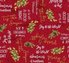 Comfort & Joy Fabric - Red Holiday Words