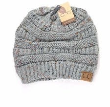 Adult Knitted Beanie- Confetti Natural Grey