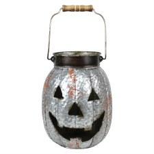 """Corrugated Metal 12"""" Jack O Lantern- Rounded"""