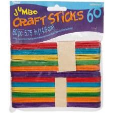 Craft Sticks, Jumbo Colored- 60ct