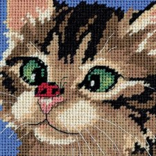 "Dimensions Needlepoint Kit, 5""x5""- Cross Eyed Kitty"