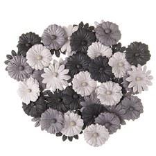 Floral Daisy Embellishments, 48ct- Gray Tones