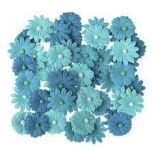 Floral Daisy Embellishments, 48ct- Aqua Tones