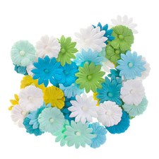 Floral Daisy Embellishments, 48ct- Blue/Green/White