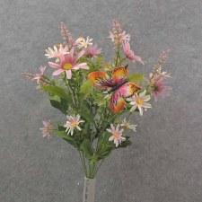 "Daisy & Butterfly Bush, 19""- Pink"