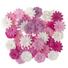 Floral Daisy Embellishments, 48ct- Pink Tones