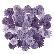 Floral Daisy Embellishments, 48ct- Purple Tones