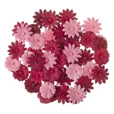 Floral Daisy Embellishments, 48ct- Reds & Pinks