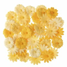 Floral Daisy Embellishments, 48ct- Yellow Tones