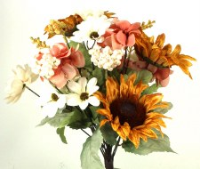 Gather by Nicole Floral Bush- Sunflowers & Daisies, Yellow/White/Pink