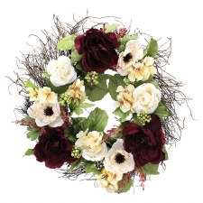 """22"""" Early Fall Floral Wreath- Peonies & Roses"""