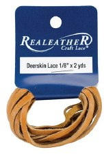 RealLeather Deerskin Lace, 2 yards- Saddle Tan
