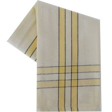 "Two Striped Cream 20""x28"" Tea Towel- Dijon with Black"