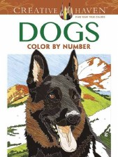 Creative Haven Color-by-Number Adult Coloring Book- Dogs