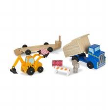Melissa & Doug Wooden Toy Set- Dump Truck & Loader