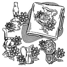 Aunt Martha's Iron On Transfers- Early American Motifs #3649