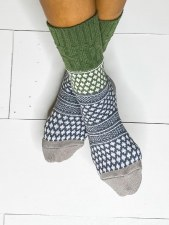 Textured Gallery Crew Sock - Earthy