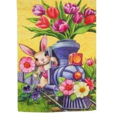 Garden Flag, Suede- Easter Bunny Express