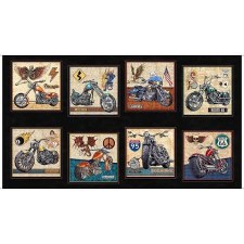 Fabric Panel- Easy Rider Motorcyle Patch, Black