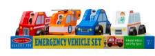 Melissa & Doug Wooden Toy Set- Emergency Vehicles