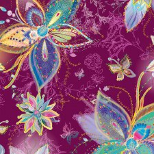 Enchanted Floral Bolted Fabric- Large Floral Plum