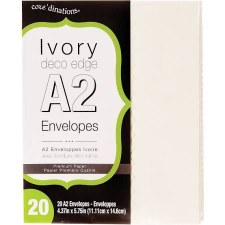 Core'dinations A2 Deco Edge Envelope Pack, 20ct- Ivory
