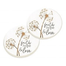 Car Coasters, 2pk- Faith Hope Love