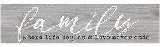 Skinny & Small Wood Sign- Family, Love & Life