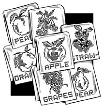 Aunt Martha's Iron On Transfers- Fancy Fruit for Tea Towels #3787
