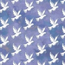 Faith Flat Fold Fabric- Blue Doves