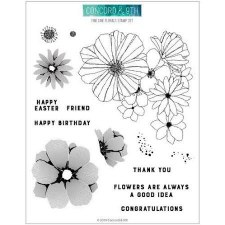 Concord & 9th Fine Line Floral Clear Stamps