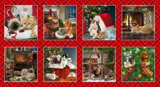 Christmas & Winter Fabric Panel- Fireside Kittens