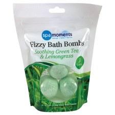 Spa Moments Fizzy Bath Bombs, 3pk- Green Tea & Lemongrass
