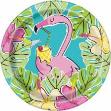 "Flamingos & Pineapples Paper Plates, 7""- 8ct"