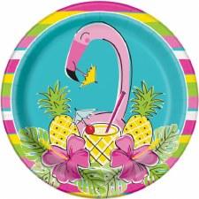 "Flamingos & Pineapples Paper Plates, 9""- 8ct"