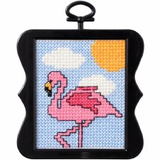 Beginner Minis Counted Cross-Stitch Kit- Flamingo