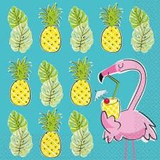 "Flamingos & Pineapples Napkins, 6.5""- 16ct"