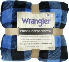 Plush Throw Blanket- Buffalo Check: Blue & Black