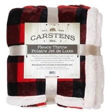 Plush Throw Blanket- Buffalo Check: Red & Black